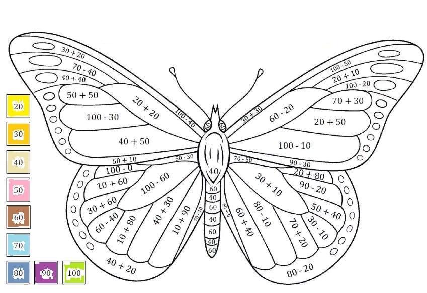 Раскраски по номерам Бабочки - 6 схем с усложнением и ОНЛАЙН