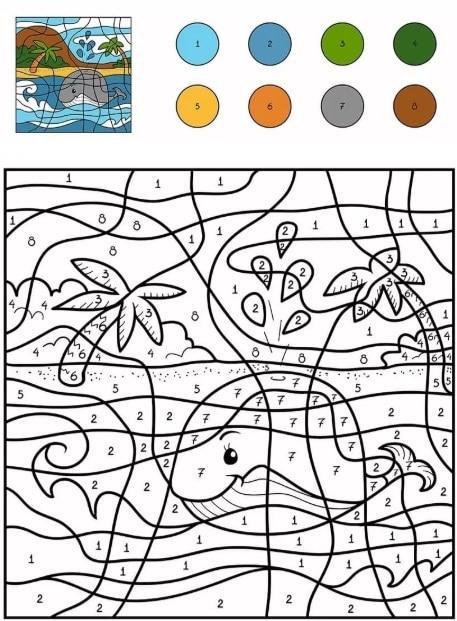 Раскраски по номерам Кит ОНЛАЙН - для маленьких и больших ...